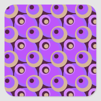 1970s overlapping disco circles purple and cerise square sticker