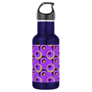 1970s overlapping disco circles purple and cerise stainless steel water bottle