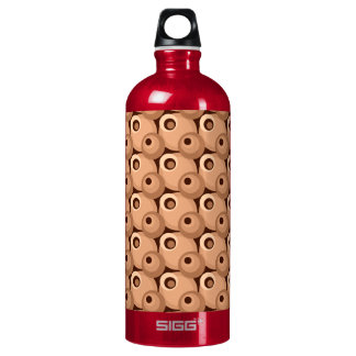 1970s overlapping disco circles sepia aluminum water bottle