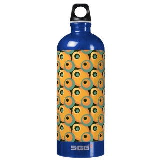 1970s overlapping disco circles yellow and green aluminum water bottle