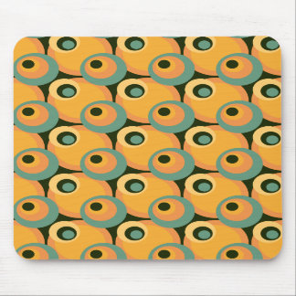 1970s overlapping disco circles yellow and green mouse pad