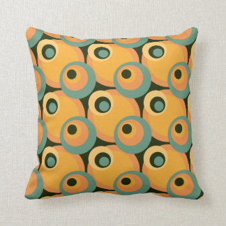 1970s overlapping disco circles yellow and green throw pillow