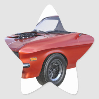 1970's Red Muscle Car Star Sticker