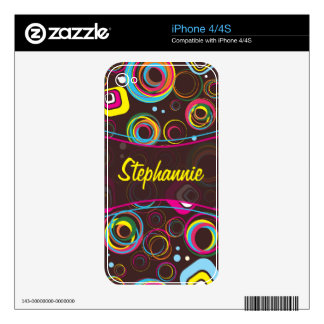 1970's Retro Circle Colorful IPhone Skin iPhone 4S Decal