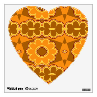1970s retro vintage flower power brown yellow wall stickers