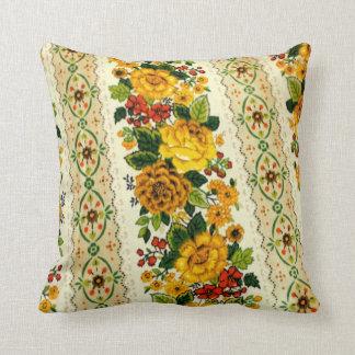 1970's Yellow Flower Pattern Throw Pillow
