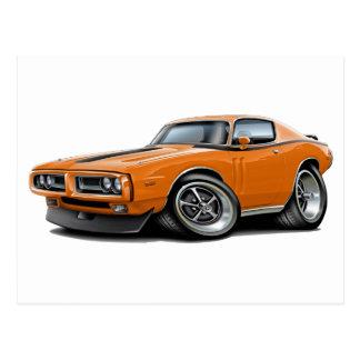 1971-72 Charger Orange-Black Car Postcard