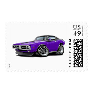 1971-72 Charger Purple-Black Top Chrome Bumper Postage Stamp