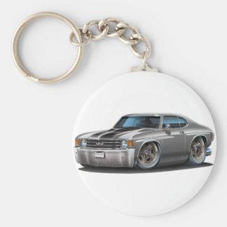 1971-72 Chevelle Grey-Black Car Basic Round Button Keychain