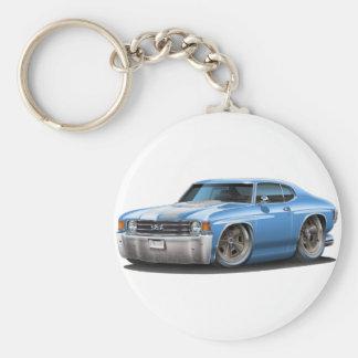 1971-72 Chevelle Lt Blue-White Car Basic Round Button Keychain