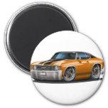 1971-72 Chevelle Orange-Black Top Car 2 Inch Round Magnet