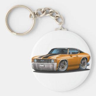1971-72 Chevelle Orange-Black Top Car Basic Round Button Keychain