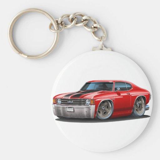 1971-72 Chevelle Red-Black Car Basic Round Button Keychain
