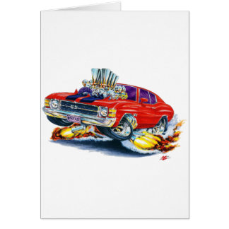 1971-72 Chevelle Red-Black Car Greeting Card