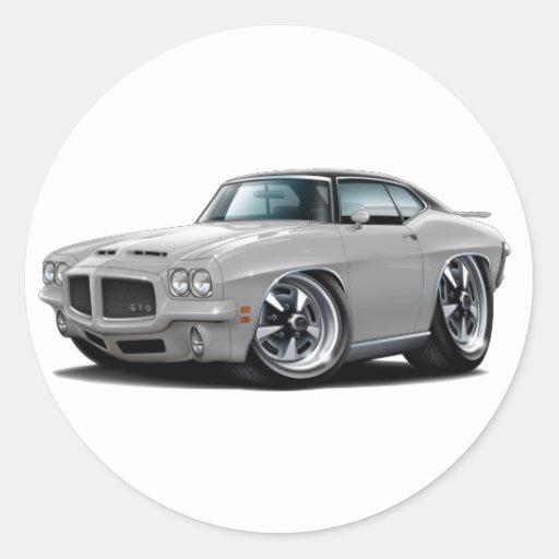 1971-72 coche superior Plata-Negro de GTO Pegatina Redonda