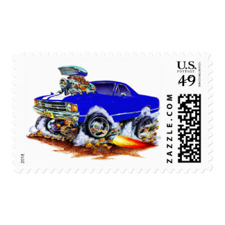 1971-72 El Camino Blue-White 4x4 Monster Truck Postage Stamp