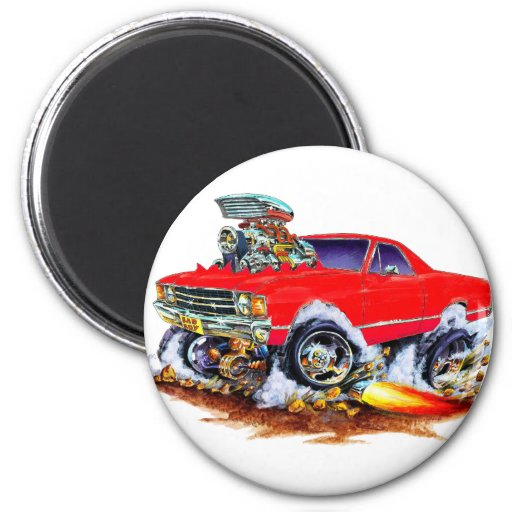 1971-72 El Camino Red 4x4 Monster Truck 2 Inch Round Magnet