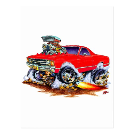 1971-72 El Camino Red 4x4 Monster Truck Postcard