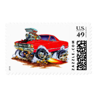 1971-72 El Camino Red-Black 4x4 Monster Truck Postage Stamps