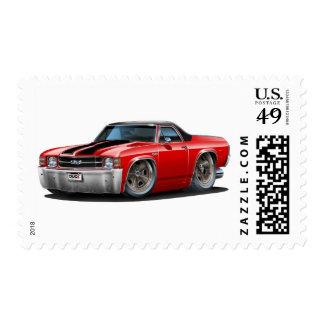 1971-72 El Camino Red-Black Truck Postage Stamp