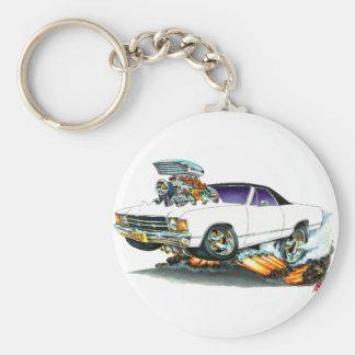 1971-72 El Camino White-Black Truck Basic Round Button Keychain