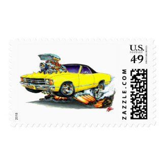 1971-72 El Camino Yellow-Black Truck Postage Stamp