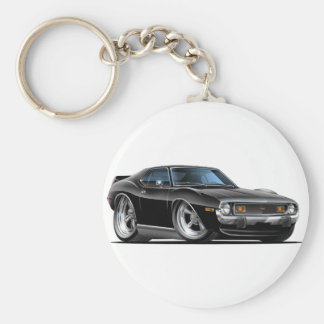 1971-72 Javelin Black Car Basic Round Button Keychain