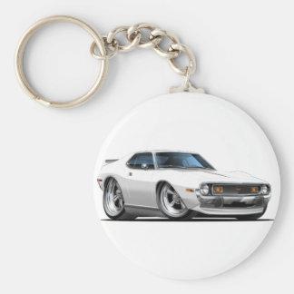1971-72 Javelin White Car Basic Round Button Keychain