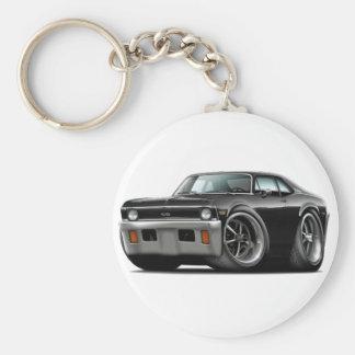 1971-72 Nova Black Car Basic Round Button Keychain