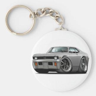 1971-72 Nova Silver Car Basic Round Button Keychain