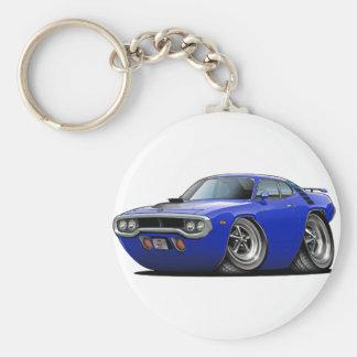 1971-72 Roadrunner Blue-Black Car Basic Round Button Keychain