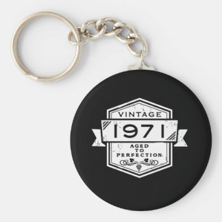 1971 Aged To Perfection Basic Round Button Keychain