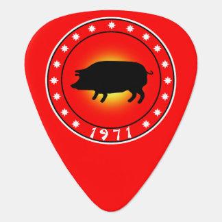 1971 años del cerdo plumilla de guitarra