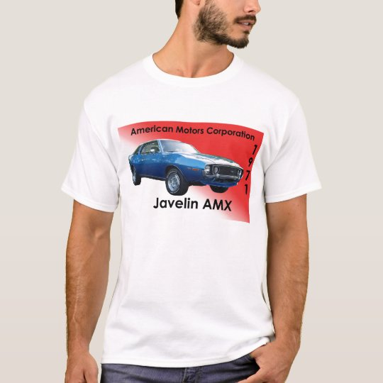 1971 blue Javelin AMX by AMC with red background T-Shirt