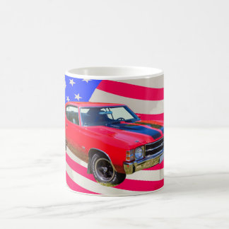 1971 chevrolet Chevelle SS And American Flag Coffee Mug