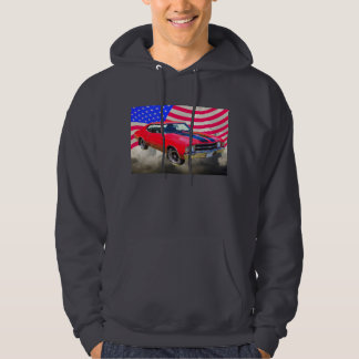 1971 chevrolet Chevelle SS And American Flag Hoodie