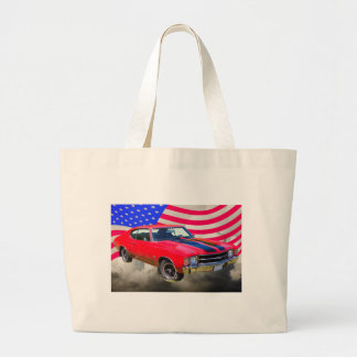 1971 chevrolet Chevelle SS And American Flag Large Tote Bag