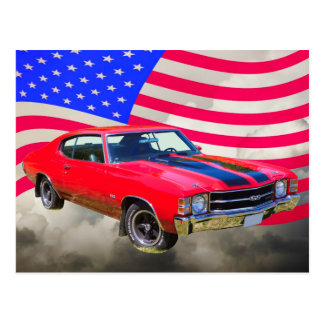 1971 chevrolet Chevelle SS And American Flag Postcard