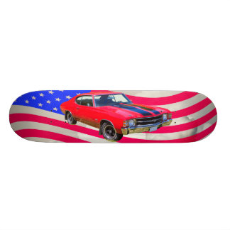 1971 chevrolet Chevelle SS And American Flag Skateboard Deck