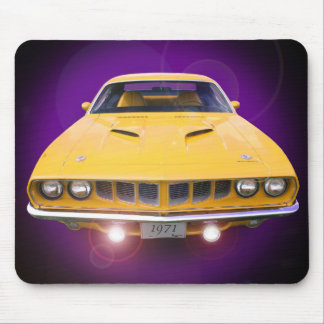1971 'Cuda in yellow with driving lights on. Mouse Pad