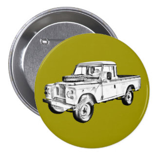 1971 Land Rover Pick up Truck Illustration Button