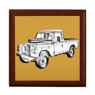 1971 Land Rover Pick up Truck Illustration Keepsake Box