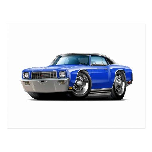 1971 Monte Carlo Blue-Black Top Car Postcard