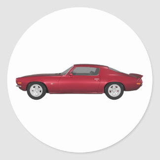 1972 Camaro: Muscle Car: Candy Apple Finish: Classic Round Sticker