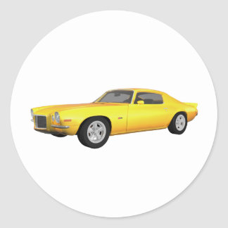 1972 Camaro Z28: Muscle Car: Yellow Finish: Classic Round Sticker