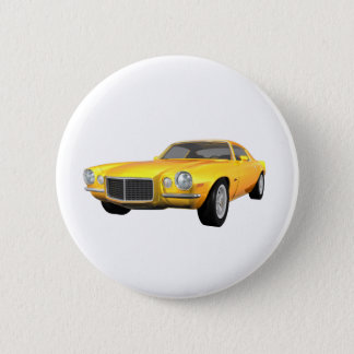 1972 Camaro Z28: Muscle Car: Yellow Finish: Pinback Button