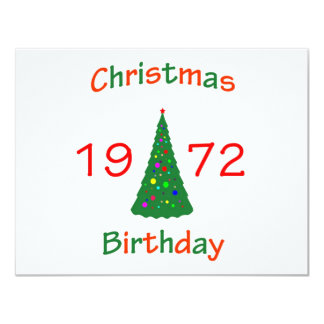1972 Christmas Birthday 4.25x5.5 Paper Invitation Card