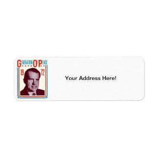 1972 Nixon Presidential Campaign Label