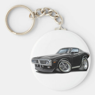 1973-74 Charger Black Car Basic Round Button Keychain