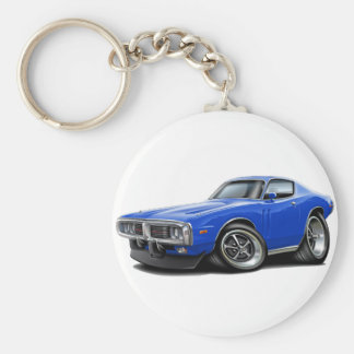 1973-74 Charger Blue Car Basic Round Button Keychain